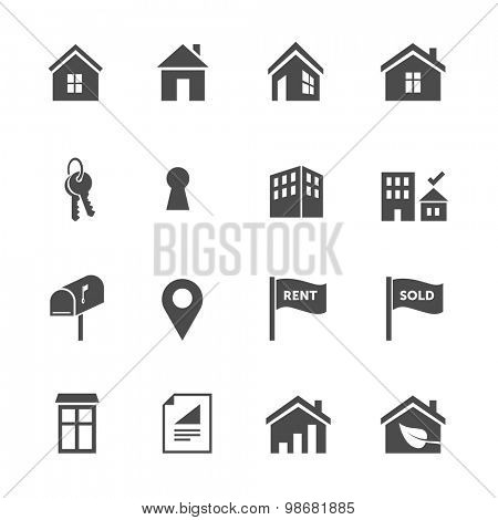 Set of real estate flat design icons
