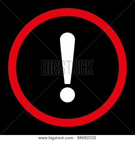 Exclamation Sign flat red and white colors rounded raster icon