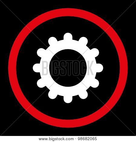 Gear flat red and white colors rounded raster icon