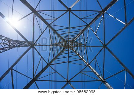 Inside A Metal Electric Tower