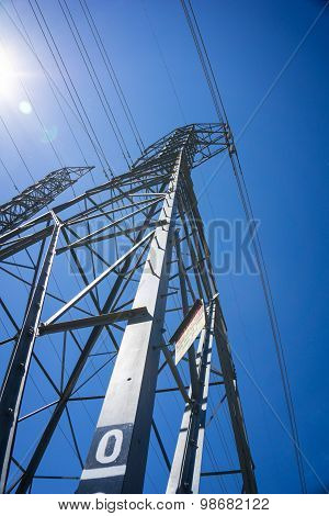 Line Of Metal Electric Tower