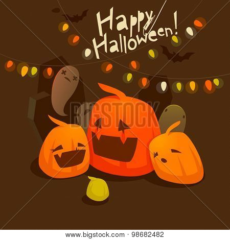 Halloween pumpkins, bats and ghosts
