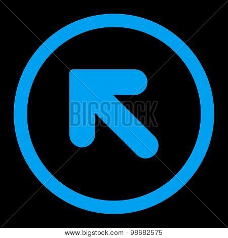 Arrow Up Left flat blue color rounded raster icon