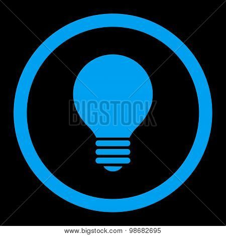 Electric Bulb flat blue color rounded raster icon