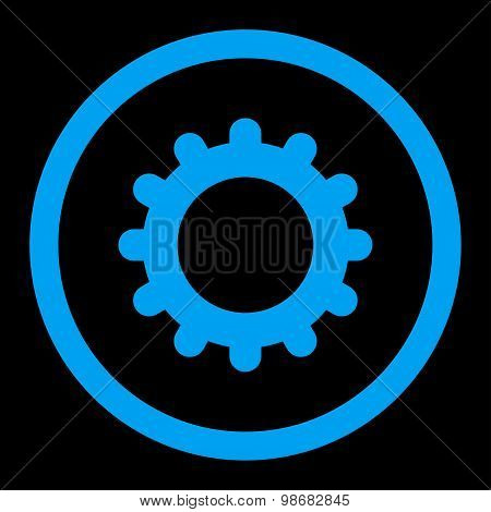 Gear flat blue color rounded raster icon