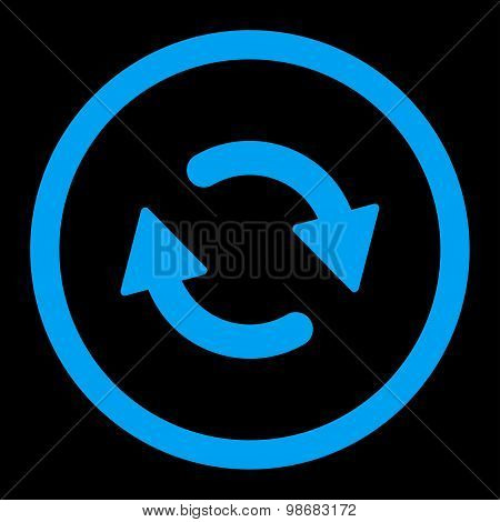 Refresh flat blue color rounded raster icon