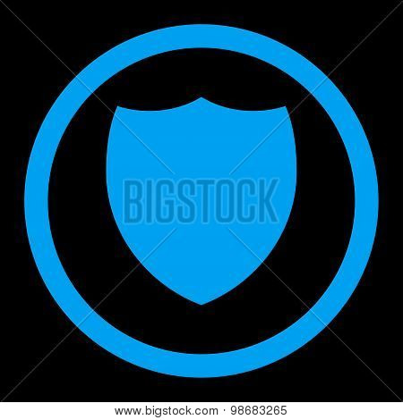 Shield flat blue color rounded raster icon