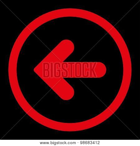 Arrow Left flat red color rounded raster icon