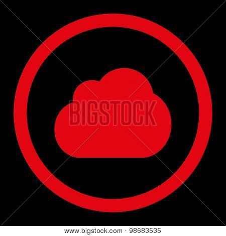 Cloud flat red color rounded raster icon