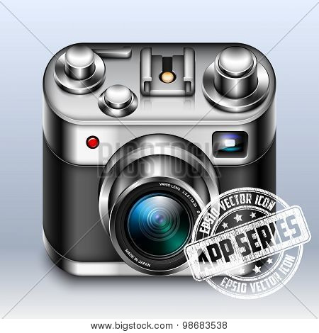 Photo Camera App Icon With Zoom Lens, Vector Illustration