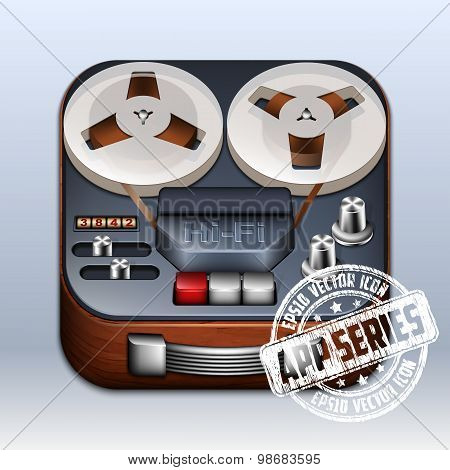 Reel To Reel Tape Recorder Icon. App Series