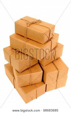 Untidy Stack Of Brown Paper Packages