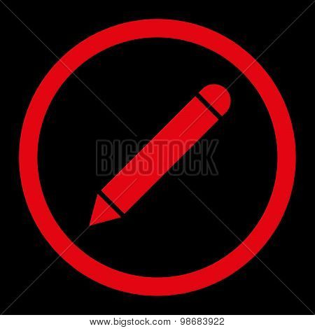 Pencil flat red color rounded raster icon