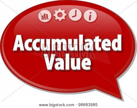Speech bubble dialog illustration of business term saying Accumulated value