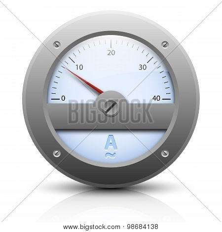 Analog Amperemeter. Vector Illustration