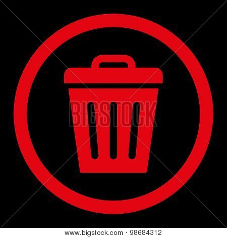 Trash Can flat red color rounded raster icon
