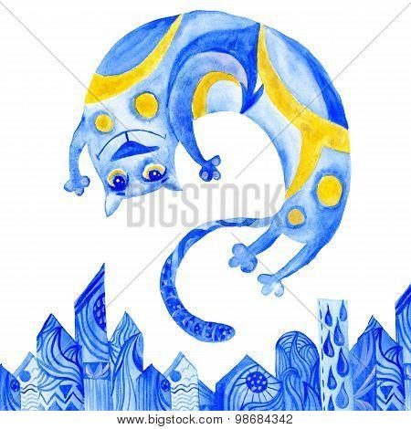 Watercolor Blue Cat Illustration