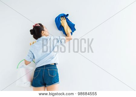 Wiping White Wall
