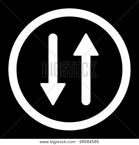 Arrows Exchange Vertical flat white color rounded raster icon