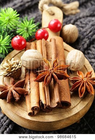 spices anise, cinnamon, nutmeg on warm knitted background