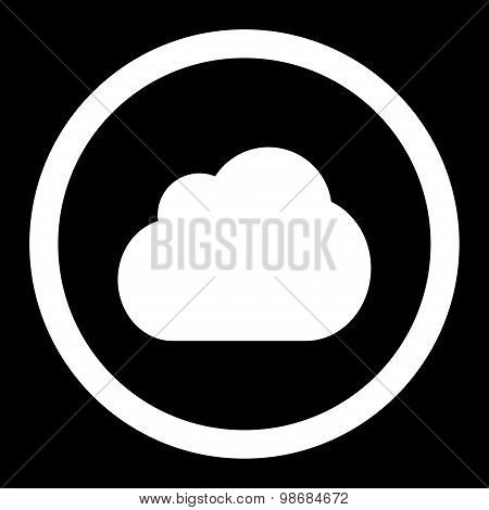 Cloud flat white color rounded raster icon