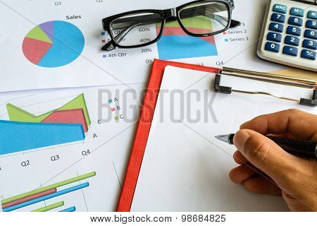 Desk Office Business Financial Accounting Calculate, Graph Analysis