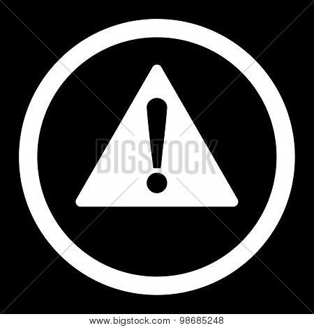 Warning flat white color rounded raster icon