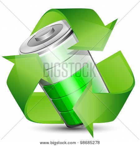 Battery With Recycle Symbol - Renewable Energy Concept, Vector Illustration