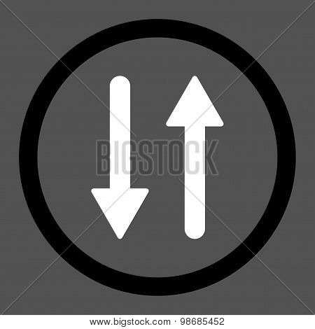 Arrows Exchange Vertical flat black and white colors rounded raster icon