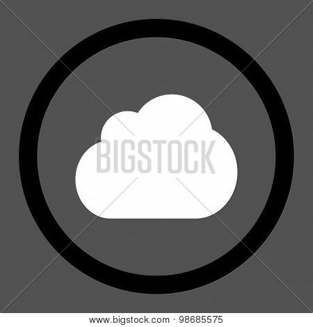 Cloud flat black and white colors rounded raster icon