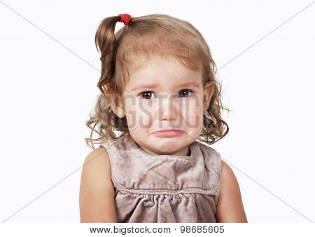 Portrait Of Sad Crying Baby Girl Isolated On White