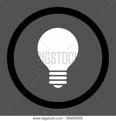Electric Bulb flat black and white colors rounded raster icon