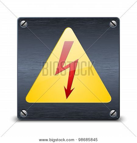 High Voltage Vector Sign On Dark Metal Plate