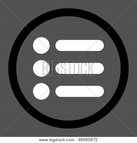 Items flat black and white colors rounded raster icon