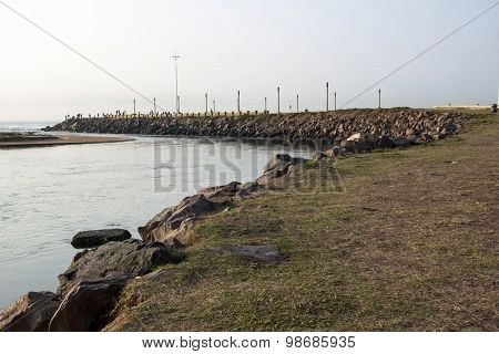View Of Umgeni River Mouth With Rocky Pier On Right