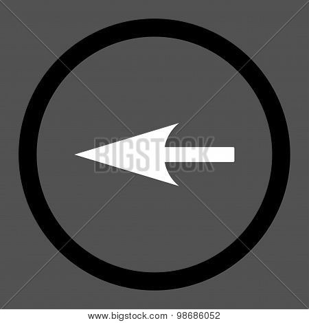 Sharp Left Arrow flat black and white colors rounded raster icon