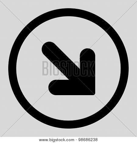 Arrow Down Right flat black color rounded raster icon