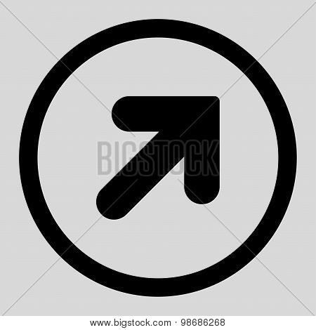 Arrow Up Right flat black color rounded raster icon