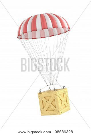 Concept Of Fast Delivery. Wooden Box Falling On The Parachute On A White Background.