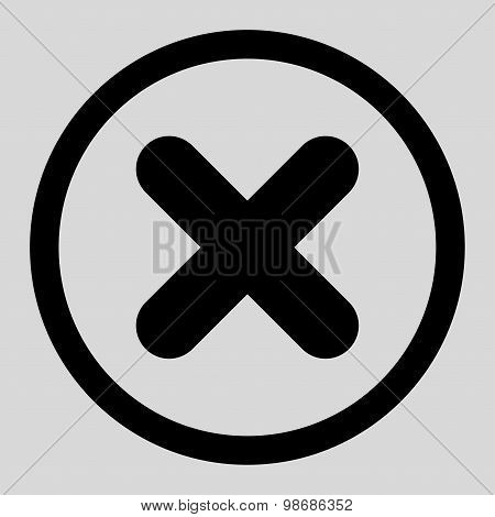 Cancel flat black color rounded raster icon