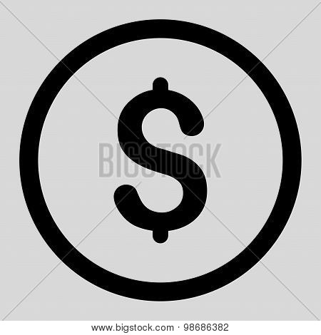 Dollar flat black color rounded raster icon