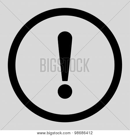 Exclamation Sign flat black color rounded raster icon