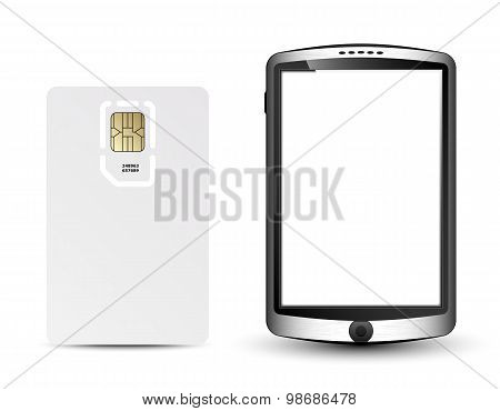Blank Sim Card And Smartphone In Original Design, Vector Illustration
