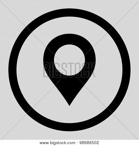 Map Marker flat black color rounded raster icon