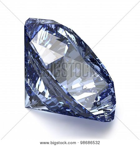 Blue Diamond On White Background. Realistic Vector Illustration