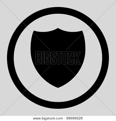 Shield flat black color rounded raster icon