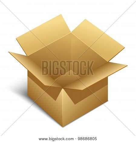 Opened Brown Paper Box Icon With Shadow, Vector