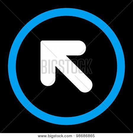Arrow Up Left flat blue and white colors rounded vector icon