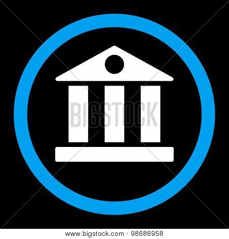 Bank flat blue and white colors rounded vector icon