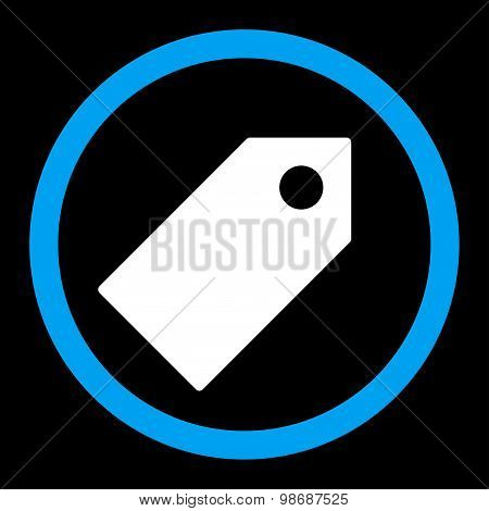 Tag flat blue and white colors rounded vector icon